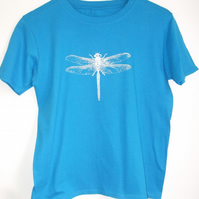 Dragonfly girls printed sapphire blue cotton T shirt
