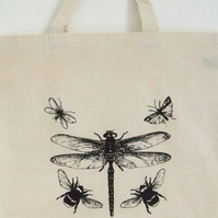 Dragonfly Bees moths,natural organic cotton tote bag black print