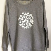 Allium Flower Womens organic cotton sweatshirt light grey white print