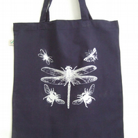 Dragonfly Bees organic cotton tote bag navy blue and silver print