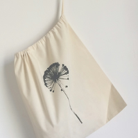 Allium hand printed natural cotton medium laundry bag drawstring bag