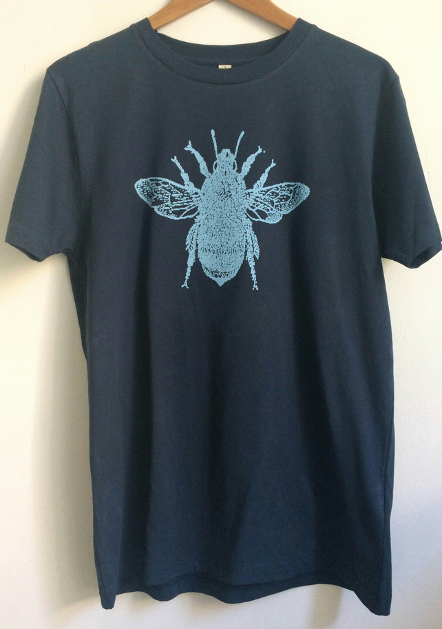 Bee Mens Unisex organic cotton T shirt  denim blue