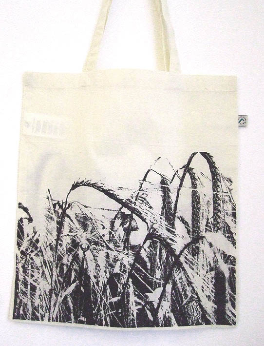 Wheat Field of crops natural  organic cotton tote bag black screen print