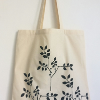 Plants natural cotton tote bag hand printed screen print