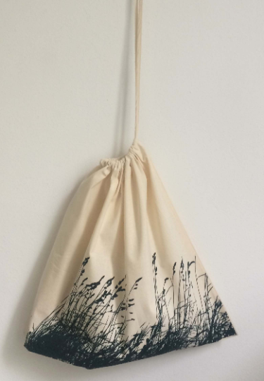 Wild Grasses hand printed natural cotton medium wide drawstring laundry bag