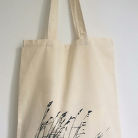 Wild Grasses natural cotton tote bag hand printed screen print