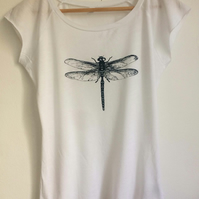 Dragonfly womens white T shirt white bamboo and organic cotton dark blue print