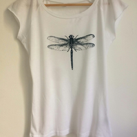 Dragonfly womens printed T shirt white bamboo and organic cotton