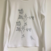 SALE Plants and bird  Womens white cotton long sleeve T shirt  silver print