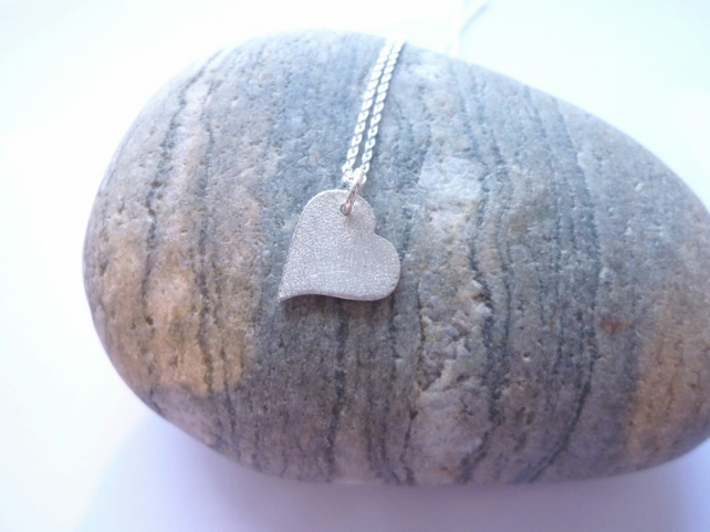 Frosty Silver Heart Necklace