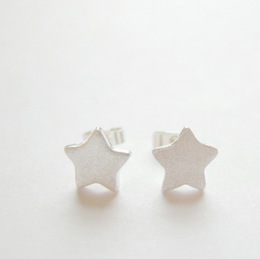Frosty Puffed Star Fine and Sterling Silver Stud Earrings