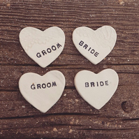 20 x Personalised Ceramic Heart Wedding Favours