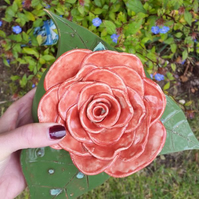 Red Ornamental Ceramic Rose