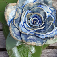 Blue Ornamental Ceramic Rose
