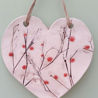 Winter Berries Ceramic Heart Plaque