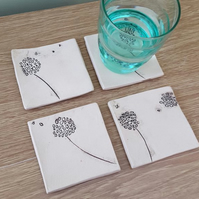 Set of 4 Square Dandelion Coasters