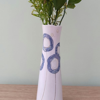 Elegant Tall Ceramic Flower Vase with Blue Circles