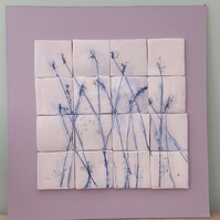 Blue Lavender Ceramic Tile Wall Art