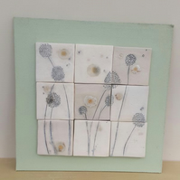 Spring Green Dandelions Ceramic Tile Wall Art