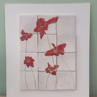 Red Flowers Ceramic Tile Wall Art