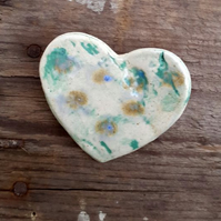 Spring Green Ceramic Heart Brooch