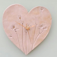 Natural Flowers Ceramic Heart Clock