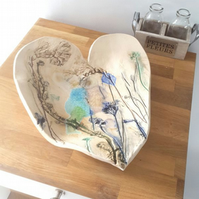 Large Floral Ceramic Heart Bowl