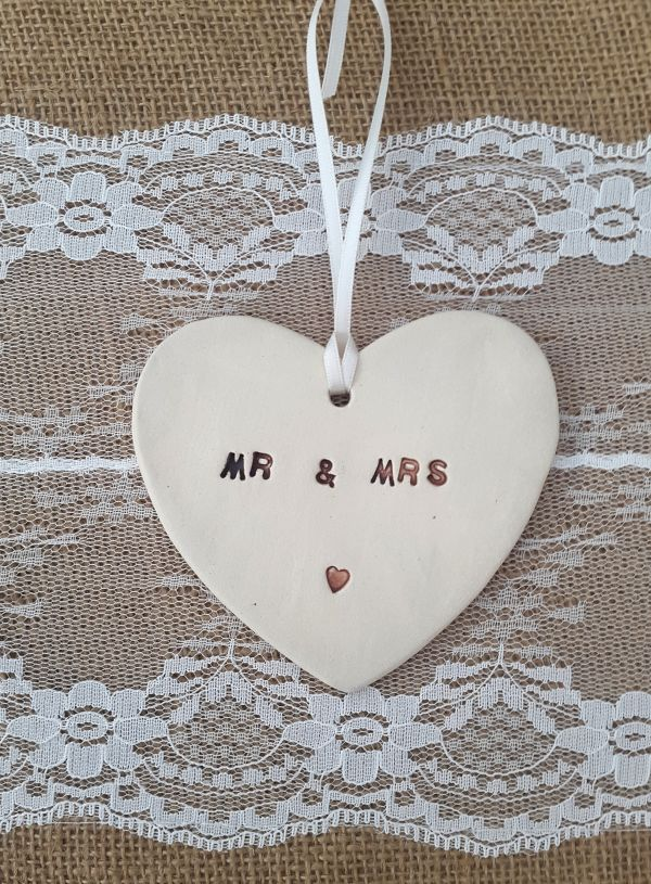 Mr & Mrs Ceramic Heart Hanging