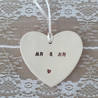 Mr & Mr Ceramic Heart Hanging