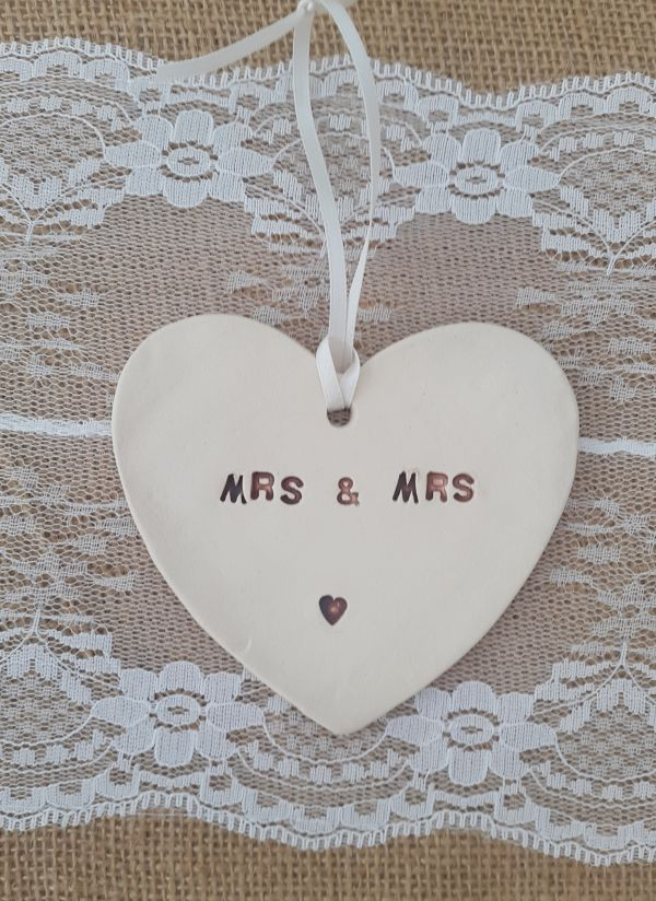Mrs & Mrs Hanging Ceramic Heart Decoration