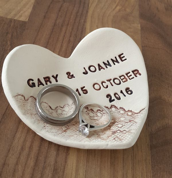 Personalised Ceramic Heart Ring Dish