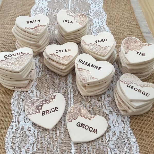 Personalised Rustic Lace Heart Ceramic Wedding Favours