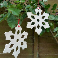 Large Ceramic Snowflake Decoration