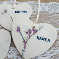 Personalised Bridesmaid Maid of Honour Friend Ceramic Heart