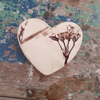 Organic Ceramic Heart Brooch