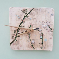 Leafy Branches Square Ceramic Clock