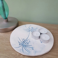 Handmade Blue Dandelions Thistles Teasels Ceramic Tea Light Holder Plate