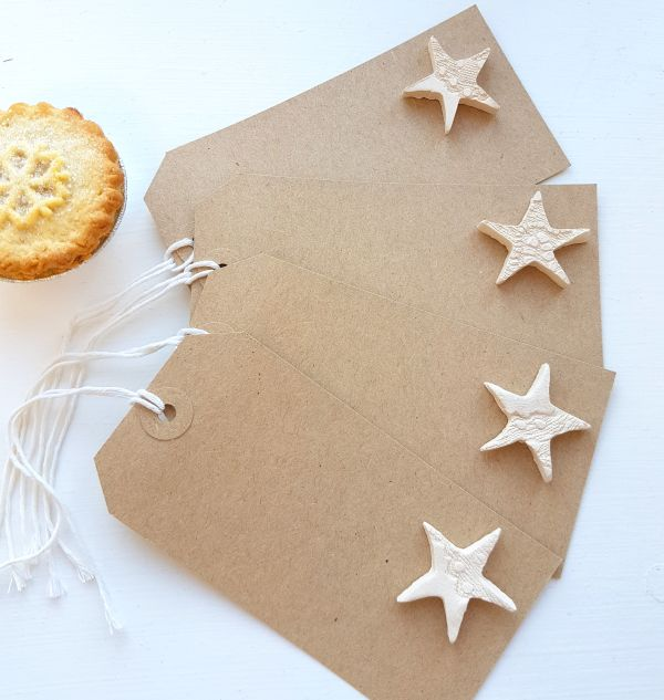 Rustic Brown Gift Tags with White Lace Ceramic Stars