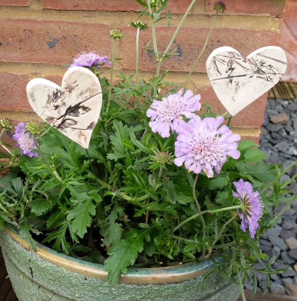 Pair of Ceramic Heart Planter Decorations