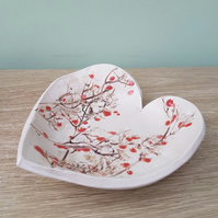 Cherry Blossom Tree Ceramic Heart Bowl