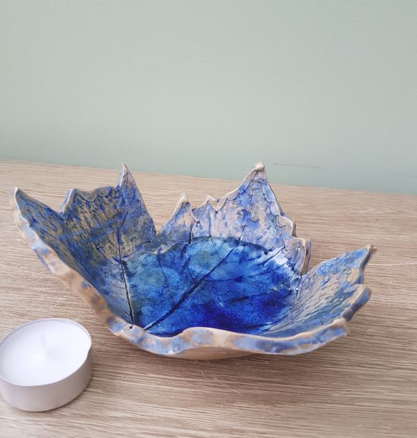 Blue Leaf Ceramic Bowl Dish