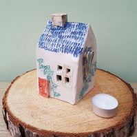 Ceramic Tea Light House with Ivy, Red Doors & Blue Roof