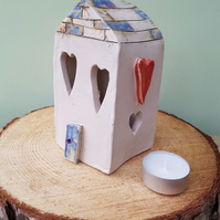 Love Heart Ceramic Tea Light House with Multi-coloured Roof