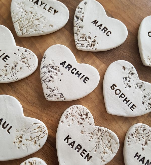 Personalised Floral Lace Heart Ceramic Wedding Favours