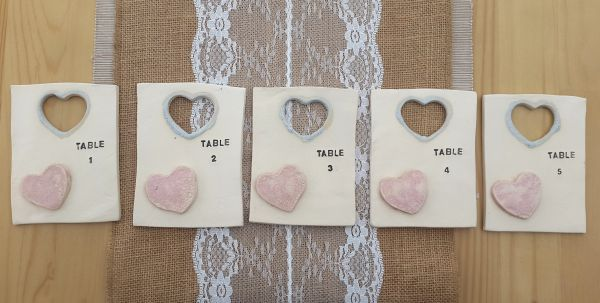 Set of 5 Ceramic Heart Table Number Tiles with easels