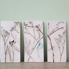 Wild Meadow Ceramic Triptych Art - set of 3 wall tiles