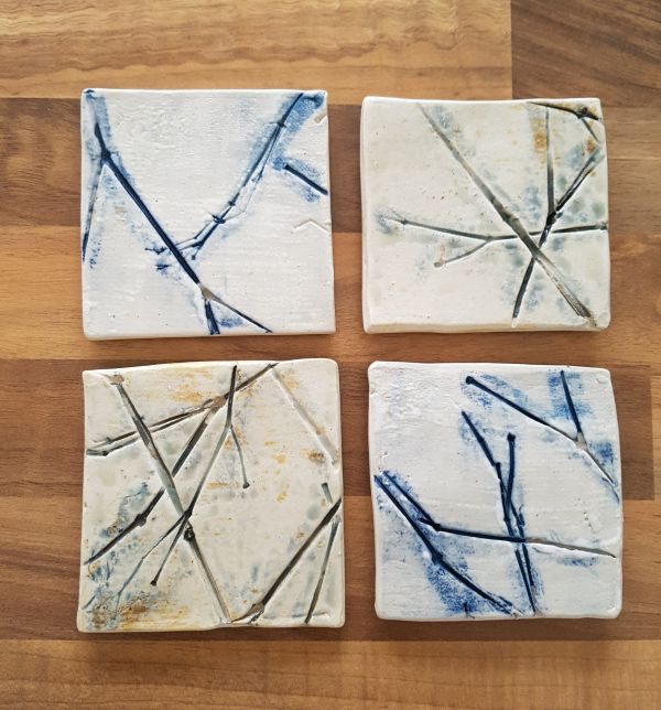 Set of 4 Tree Branch Ceramic Coasters