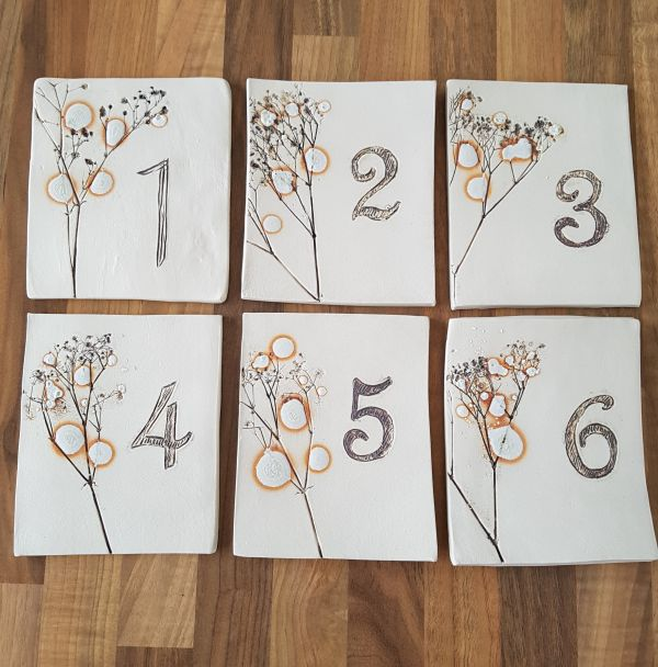 Set of 6 Ceramic Wedding Table Number Tiles with wooden easels