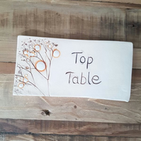 Top Table Wedding Tile with wooden easel