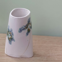 Medium Mint Green & Lilac Flowers Ceramic Vase